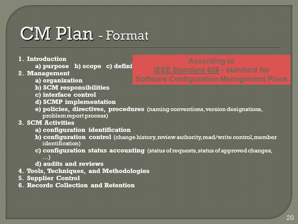 CM Plan - Format According to IEEE Standard standard for