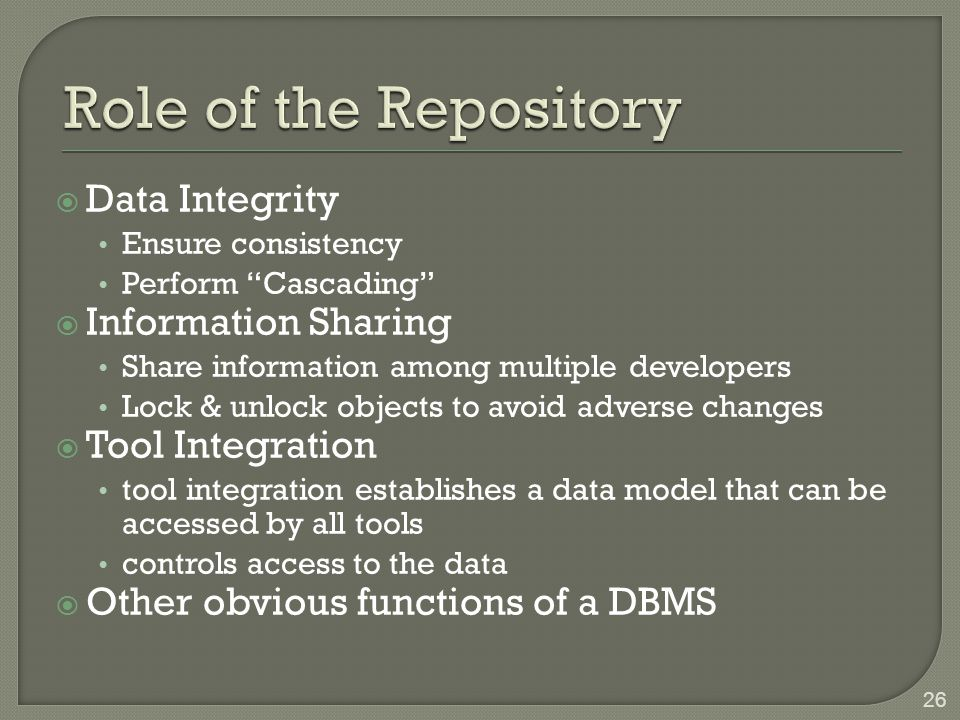 Role of the Repository Data Integrity Information Sharing
