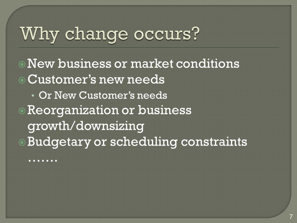 Why change occurs New business or market conditions