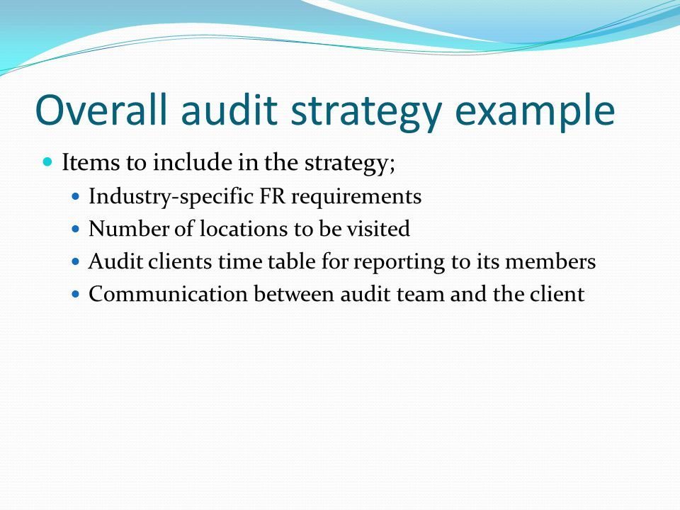 Overall Audit Strategy Example