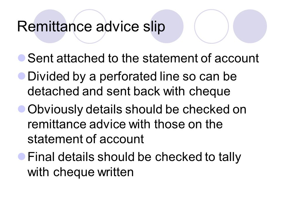 Remittance advice slip