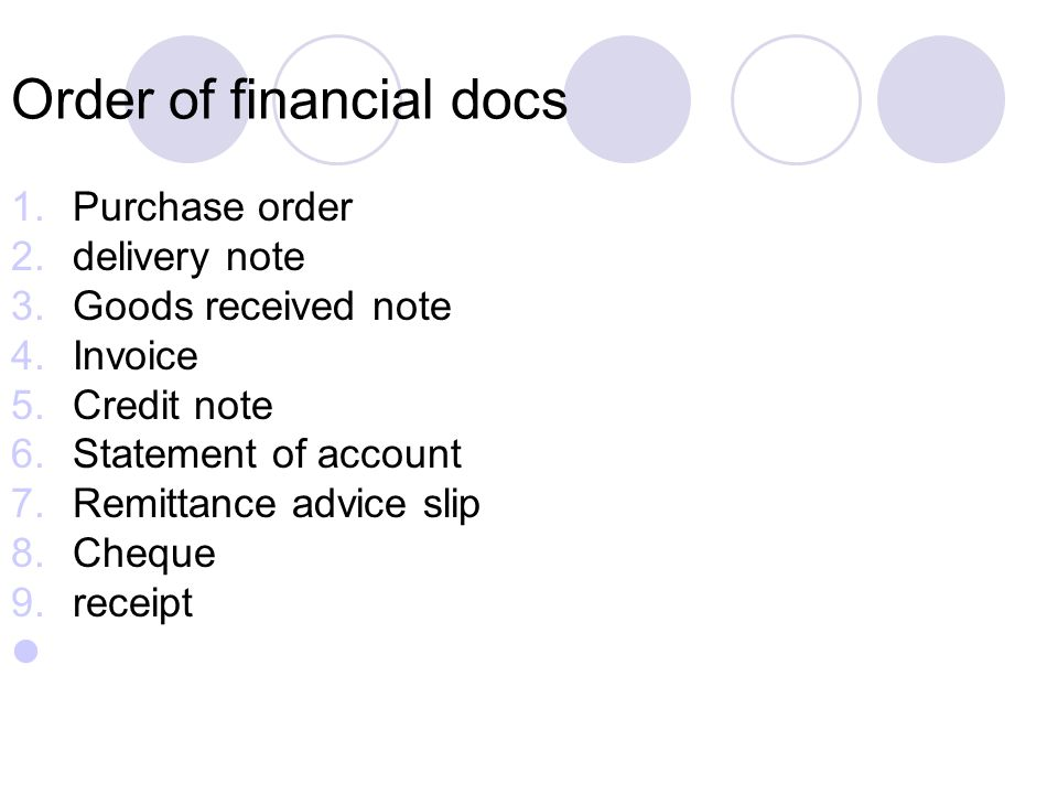 Order of financial docs