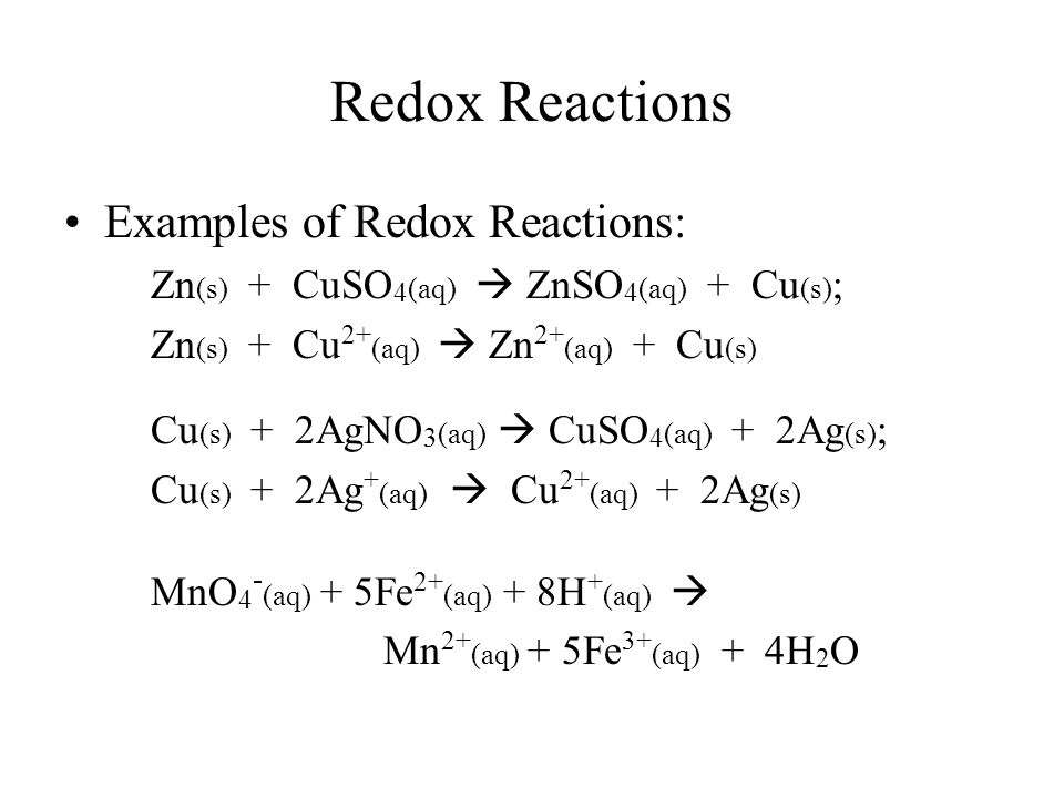 Oxidation-reduction reaction electrochemical reactions.