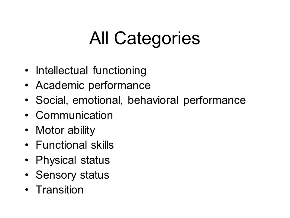 All Categories Intellectual functioning Academic performance