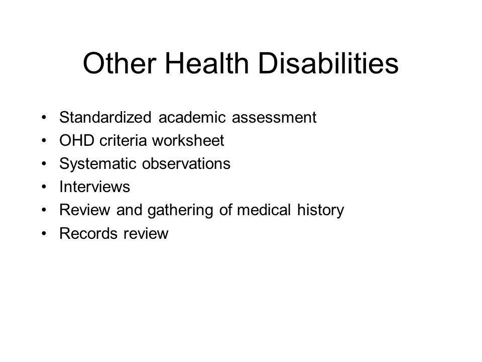 Other Health Disabilities