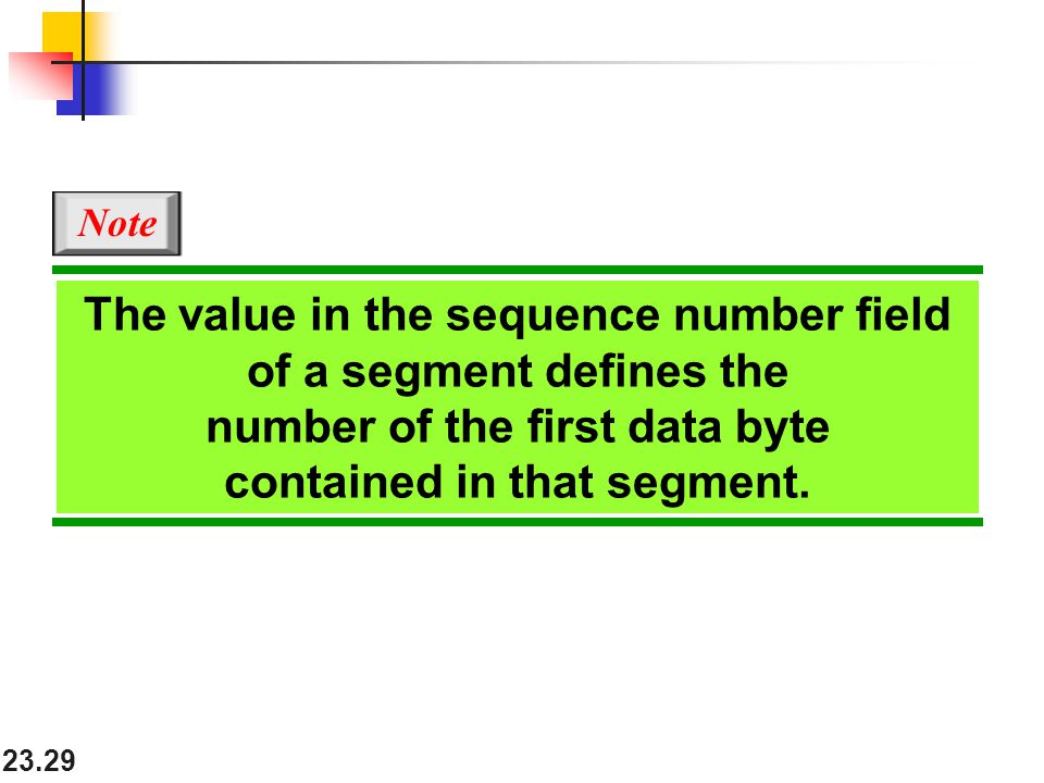 The value in the sequence number field of a segment defines the