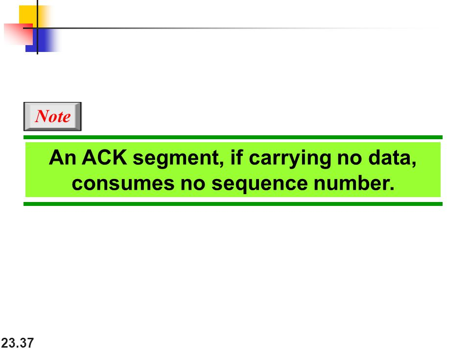 An ACK segment, if carrying no data, consumes no sequence number.