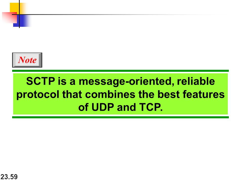 Note SCTP is a message-oriented, reliable protocol that combines the best features of UDP and TCP.