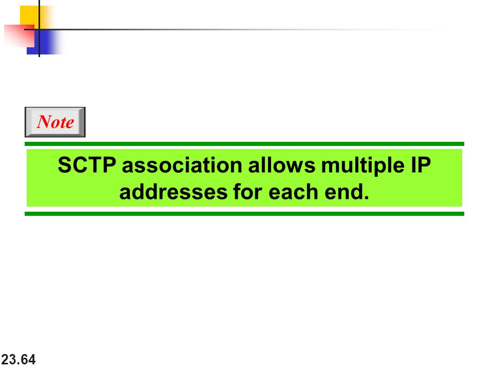 SCTP association allows multiple IP addresses for each end.