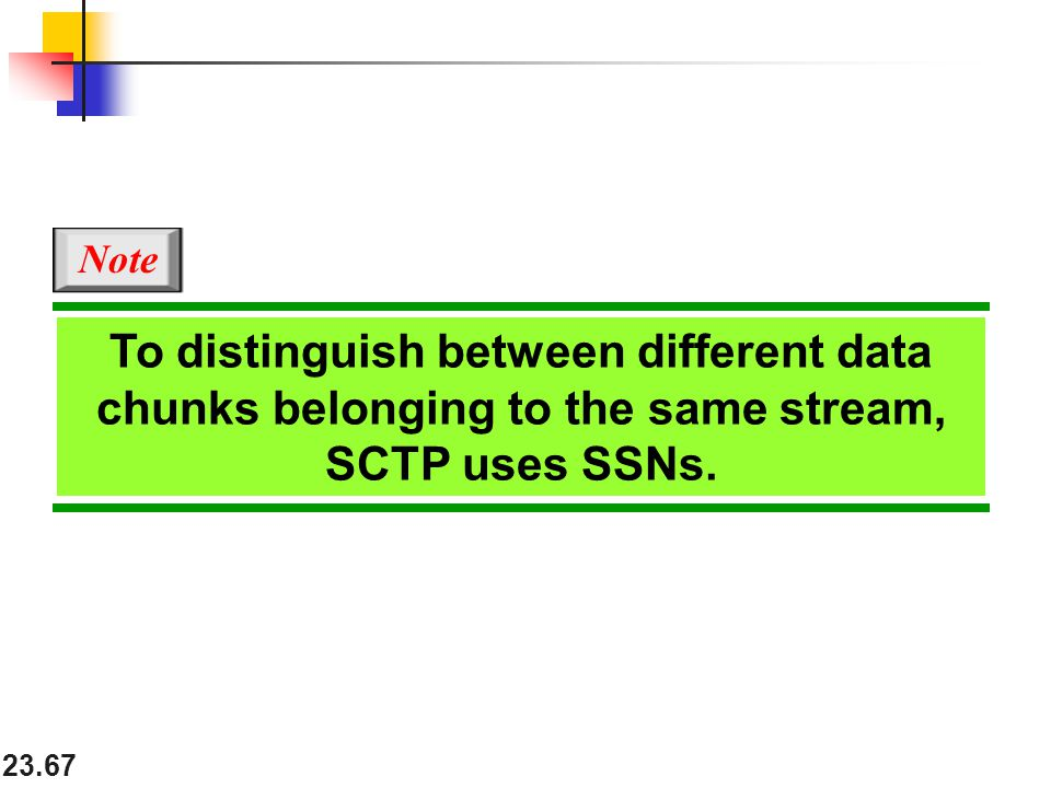 Note To distinguish between different data chunks belonging to the same stream, SCTP uses SSNs.