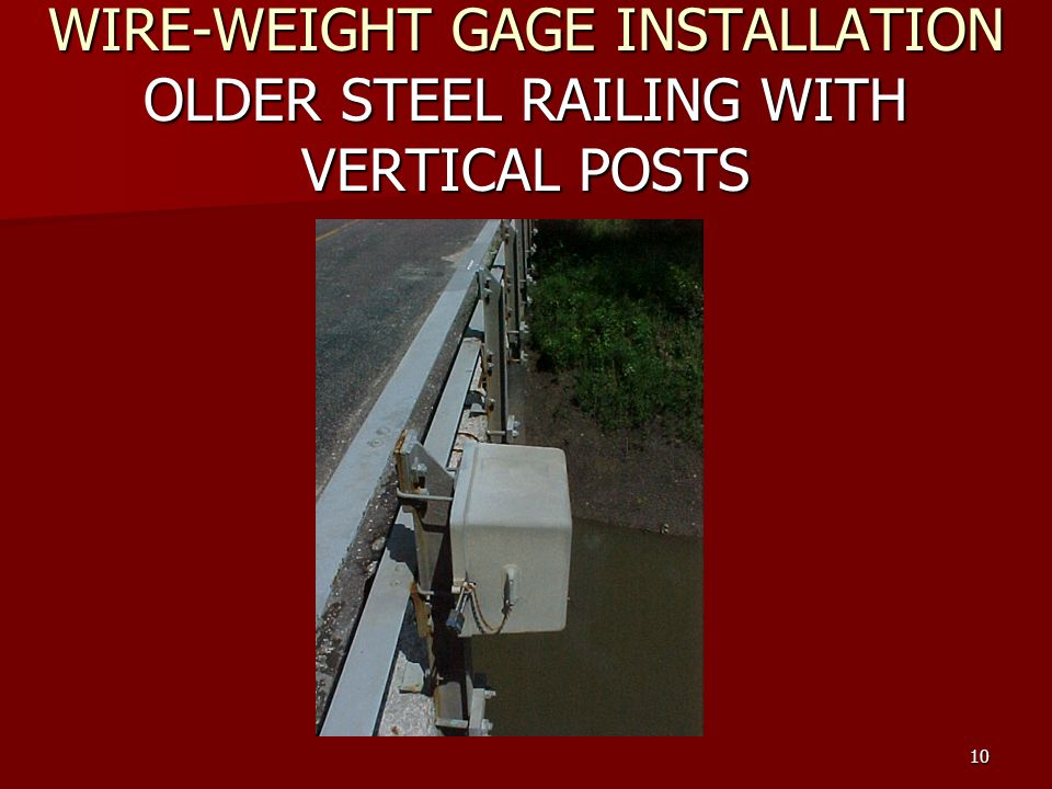 Hydrologic fieldwork manual stage gage installation and maintenance 10 wire weight gage installation older steel railing with vertical posts keyboard keysfo Choice Image