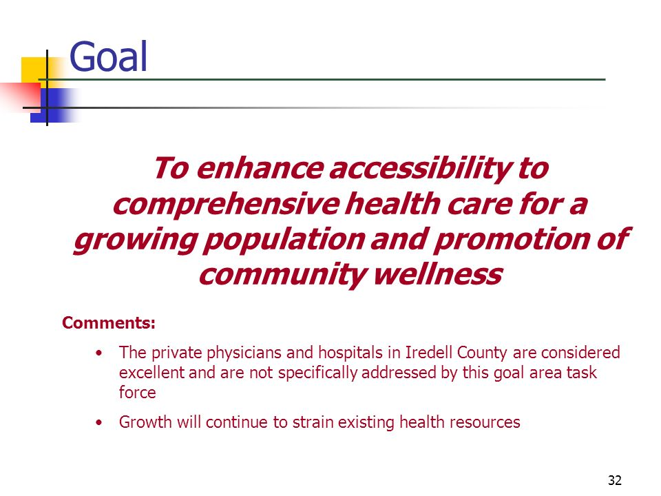 Goal To enhance accessibility to comprehensive health care for a growing population and promotion of community wellness.