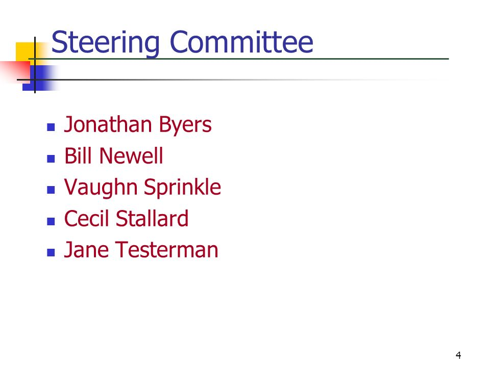 Steering Committee Jonathan Byers Bill Newell Vaughn Sprinkle