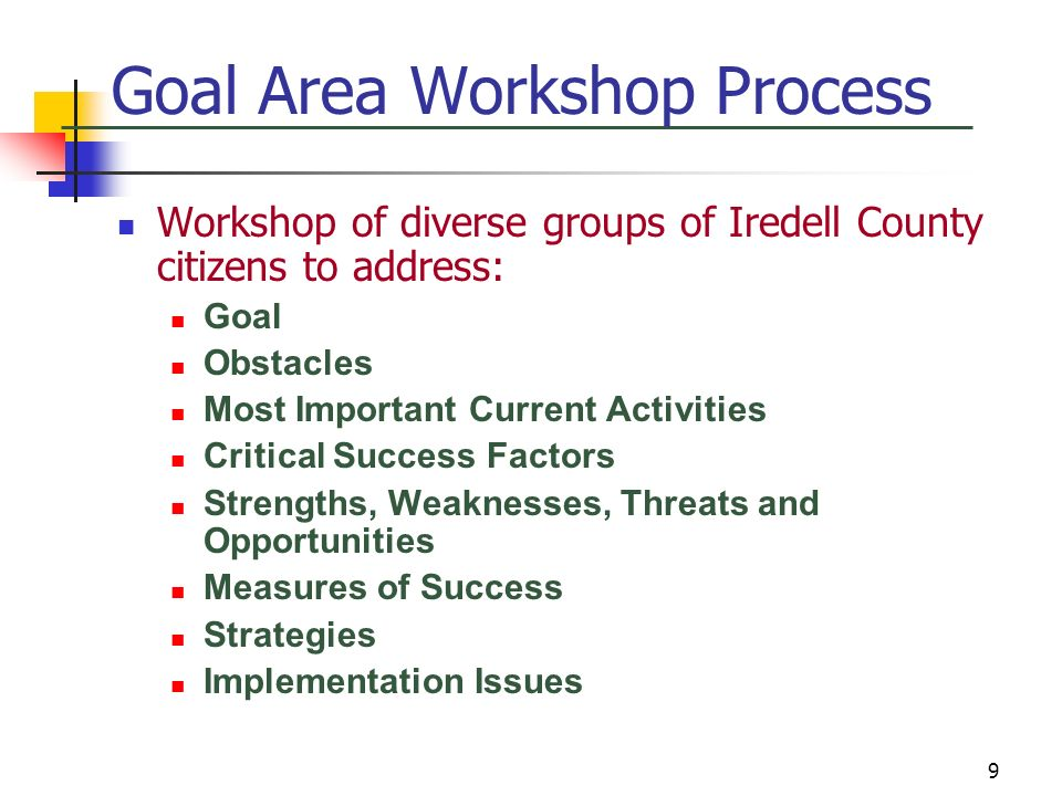 Goal Area Workshop Process