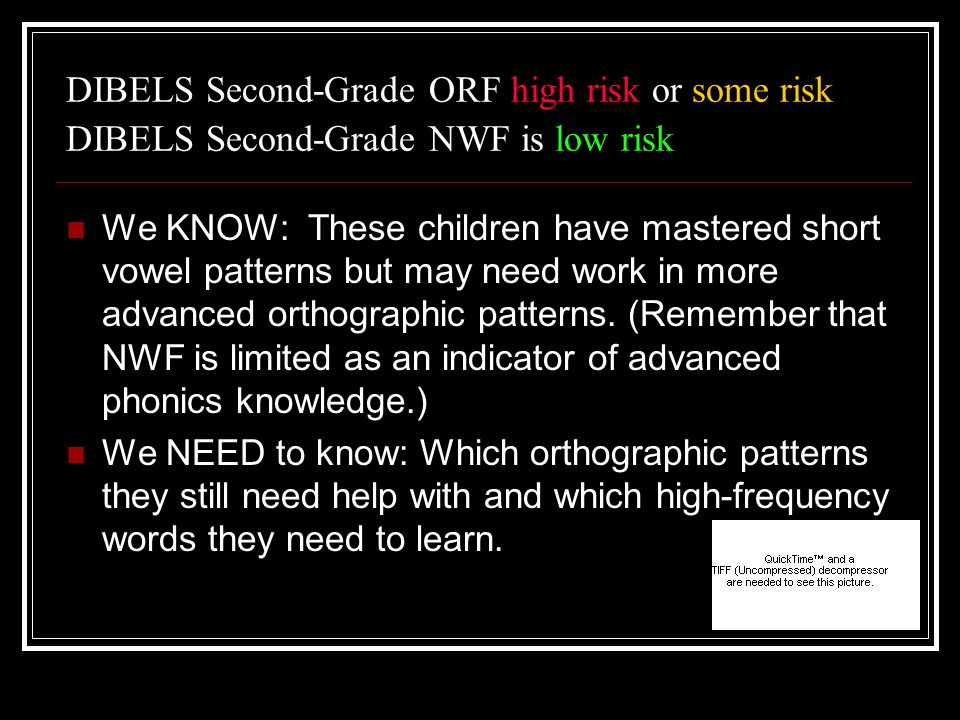 DIBELS Second-Grade ORF high risk or some risk DIBELS Second-Grade NWF is low risk