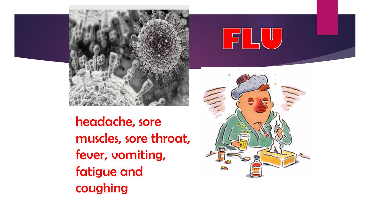 FLU headache, sore muscles, sore throat, fever, vomiting, fatigue and coughing