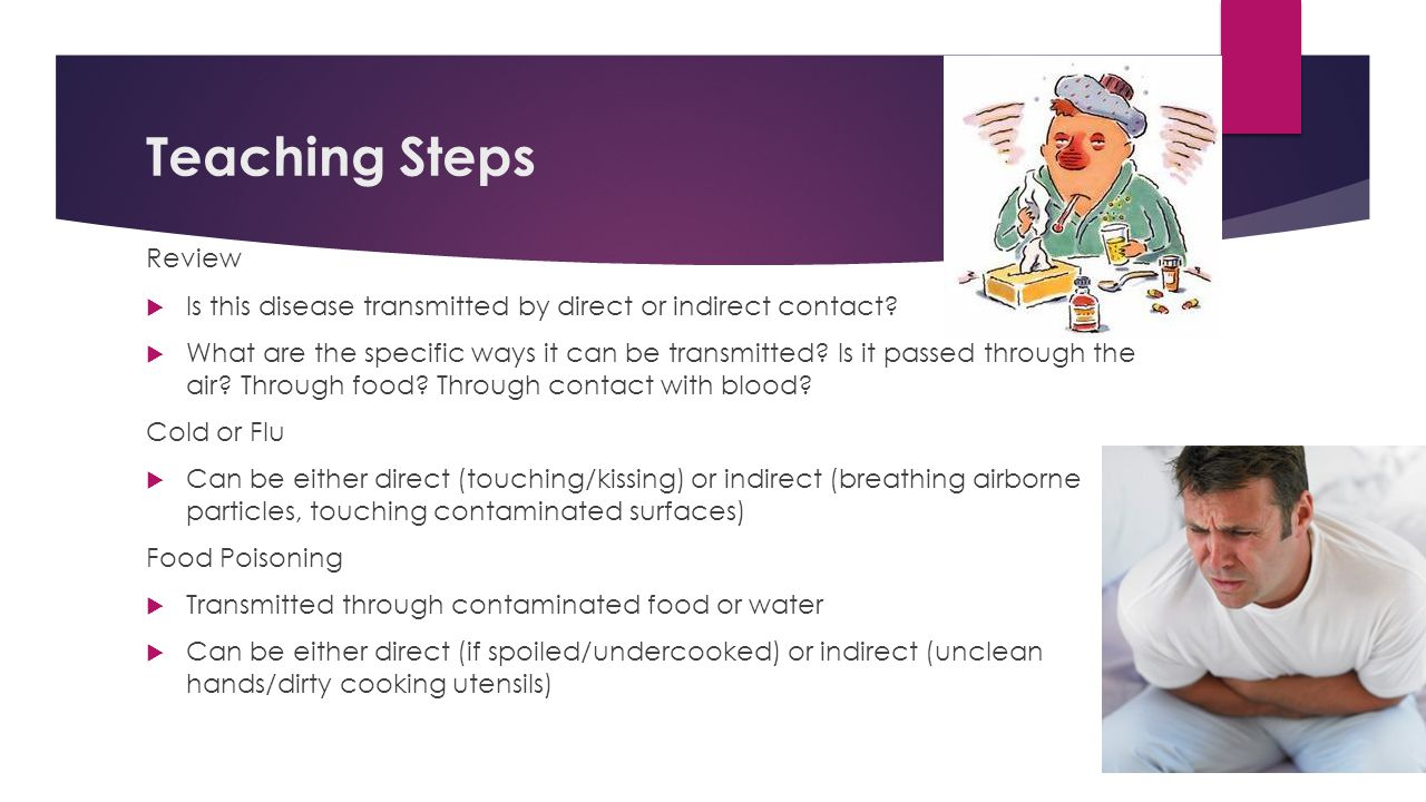 Teaching Steps Review. Is this disease transmitted by direct or indirect contact