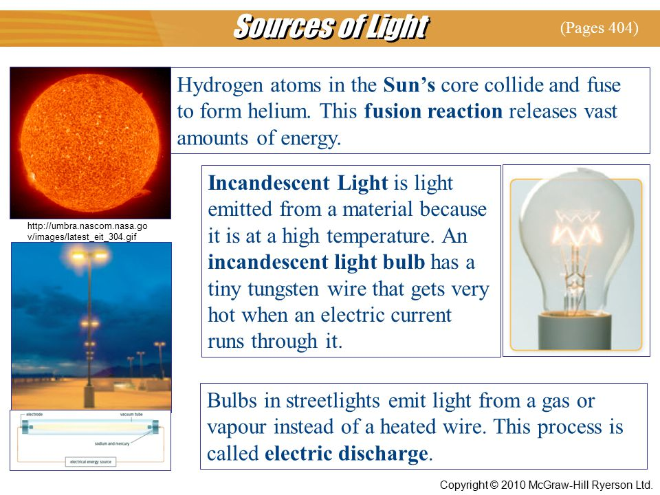 Sources of Light (Pages 404) Hydrogen atoms in the Sun's core collide and fuse to form helium. This fusion reaction releases vast amounts of energy.
