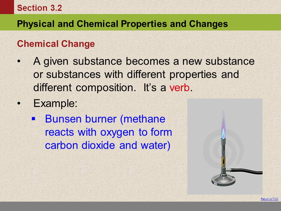 Chemical Change A given substance becomes a new substance or substances with different properties and different composition. It's a verb.