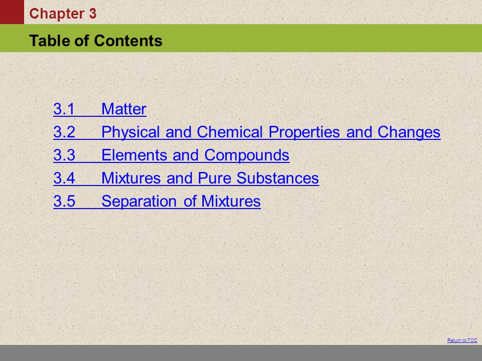 3.1 Matter 3.2 Physical and Chemical Properties and Changes. 3.3 Elements and Compounds. 3.4 Mixtures and Pure Substances.