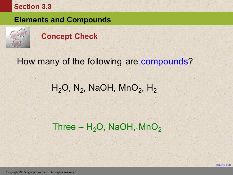 How many of the following are compounds H2O, N2, NaOH, MnO2, H2