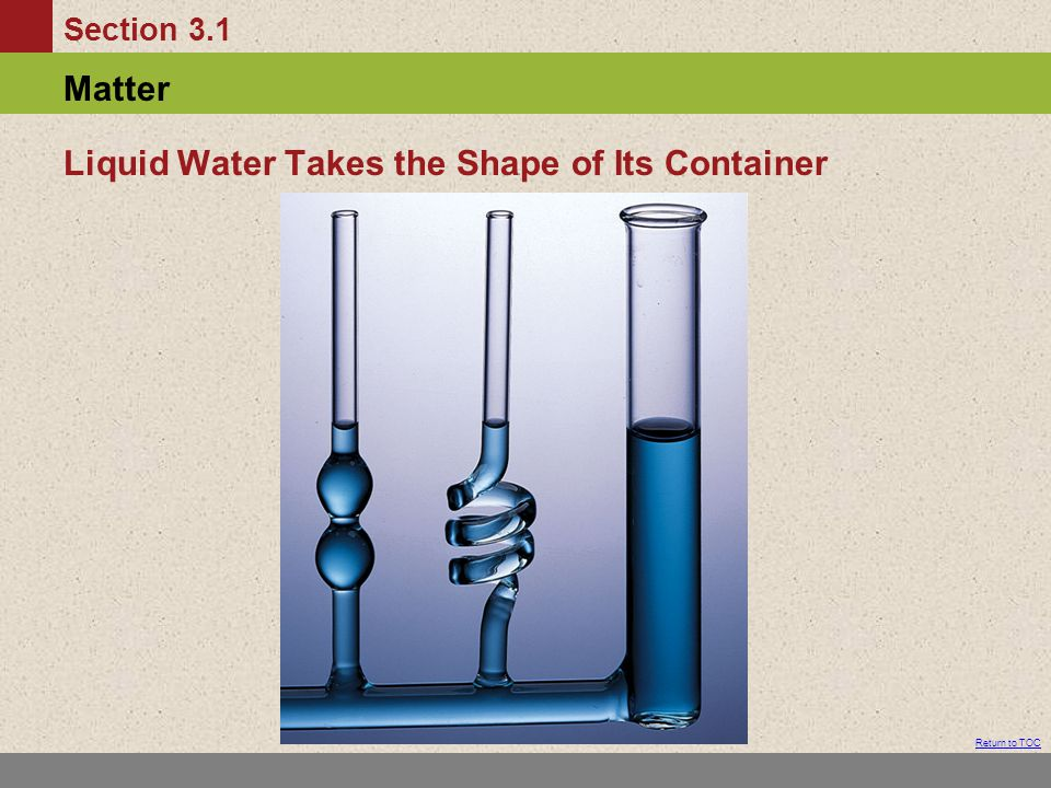 Liquid Water Takes the Shape of Its Container