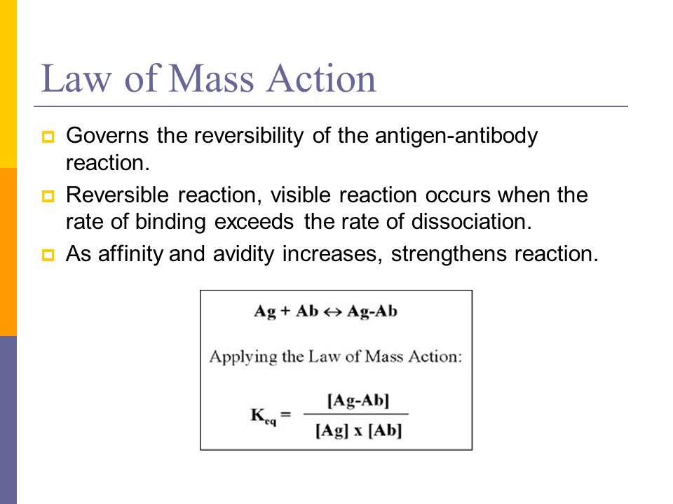 Law of Mass Action Governs the reversibility of the antigen-antibody reaction.