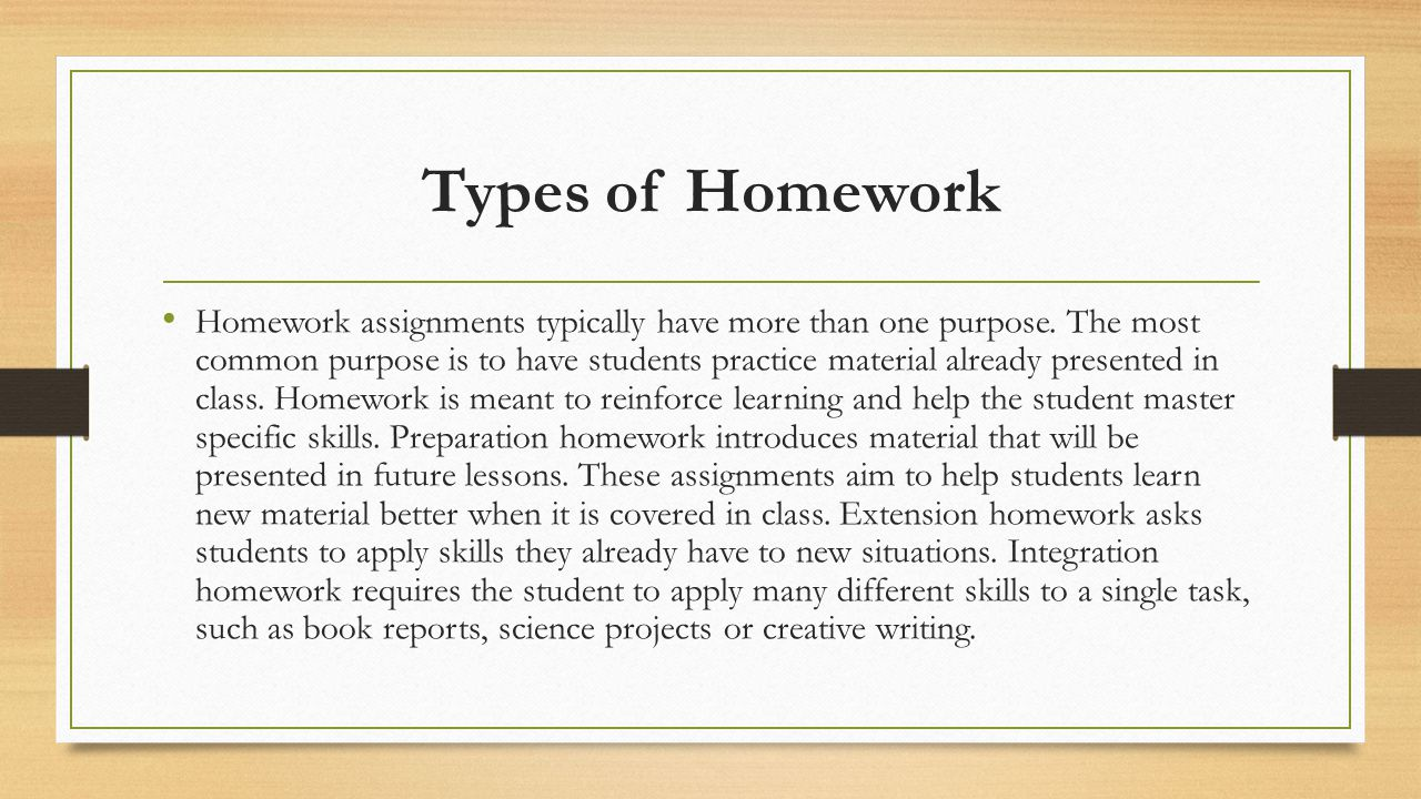 Types of Homework