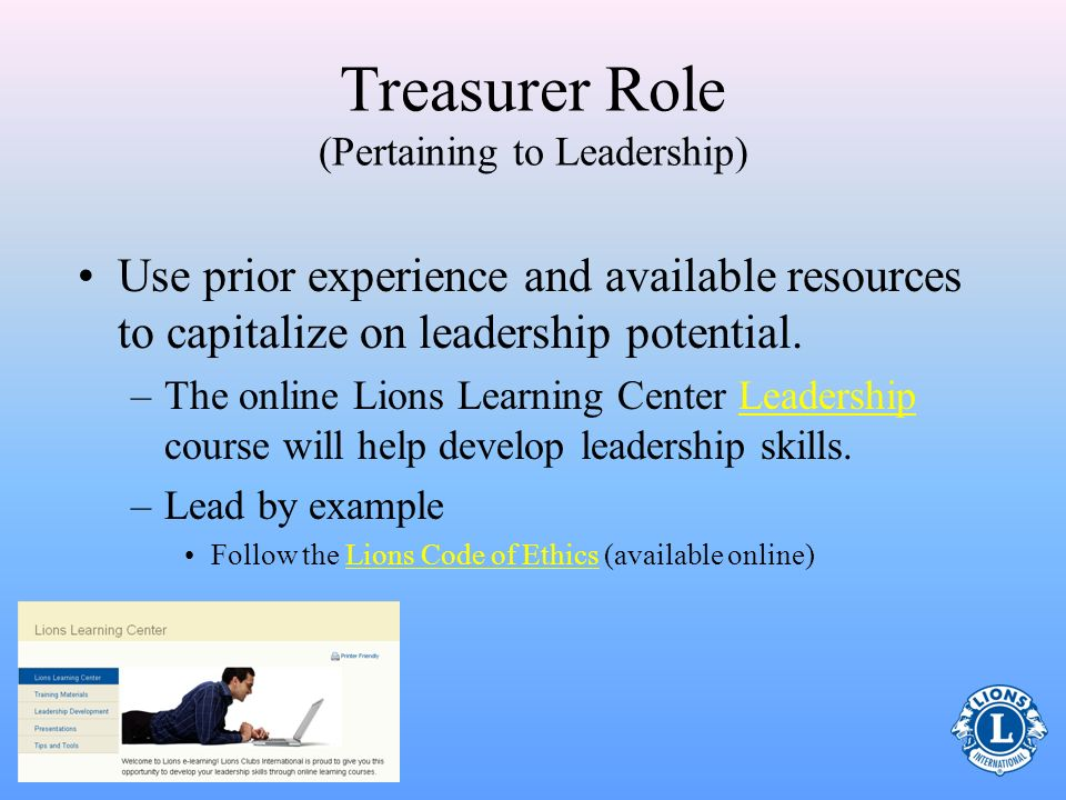 Treasurer Role (Pertaining to Leadership)