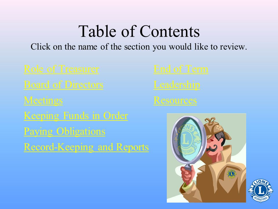 Table of Contents Click on the name of the section you would like to review.