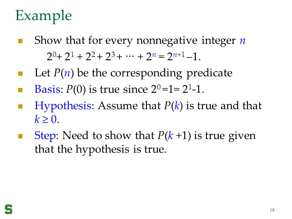 Example Show that for every nonnegative integer n