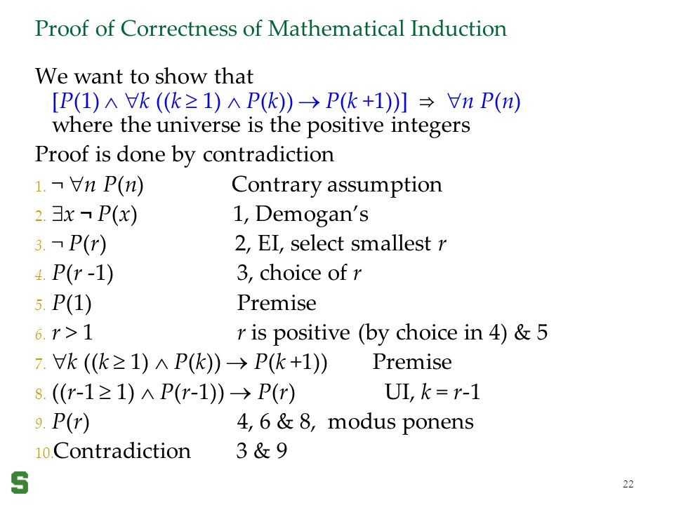 Proof of Correctness of Mathematical Induction