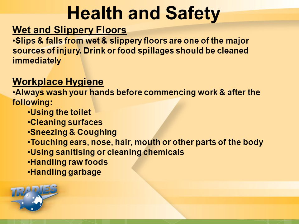 Health and Safety Wet and Slippery Floors Workplace Hygiene