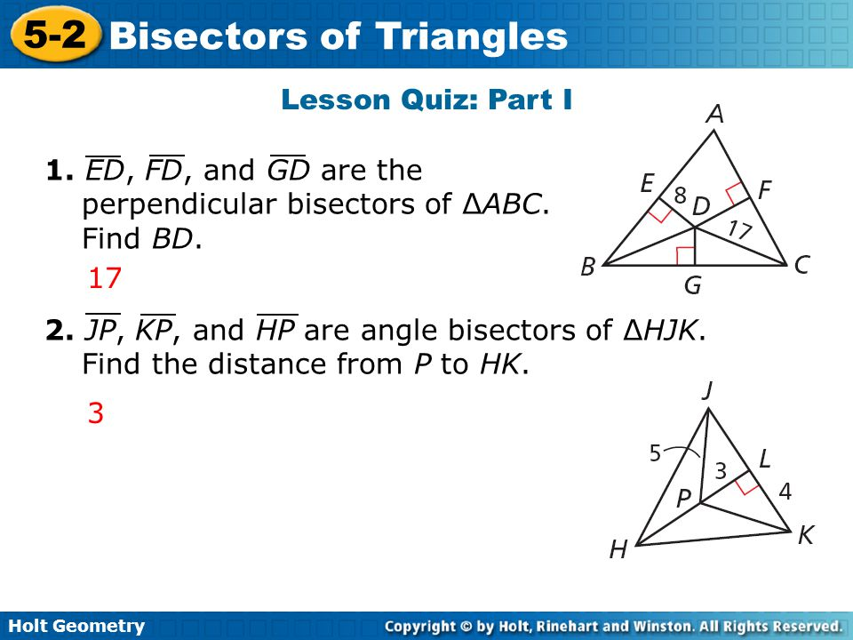 lesson 5.2 problem solving bisectors of triangles