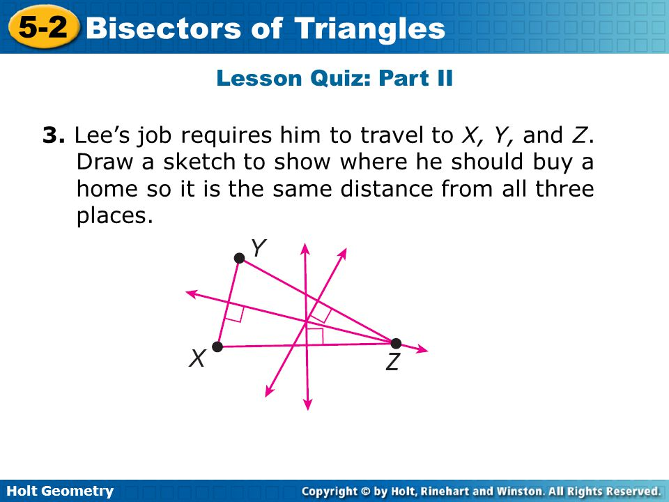 lesson 5-2 problem solving bisectors of triangles