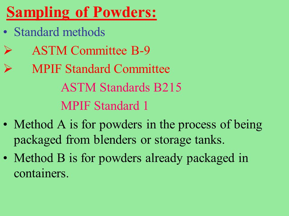 Metal Powder Testing Characterization Of Metal Powders Ppt Video