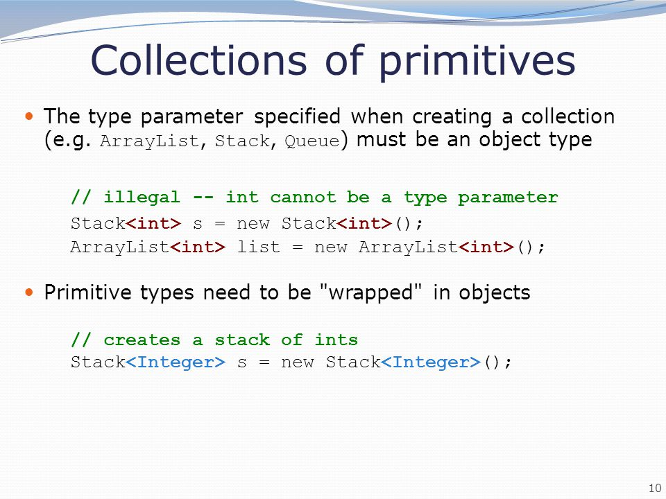Collections of primitives