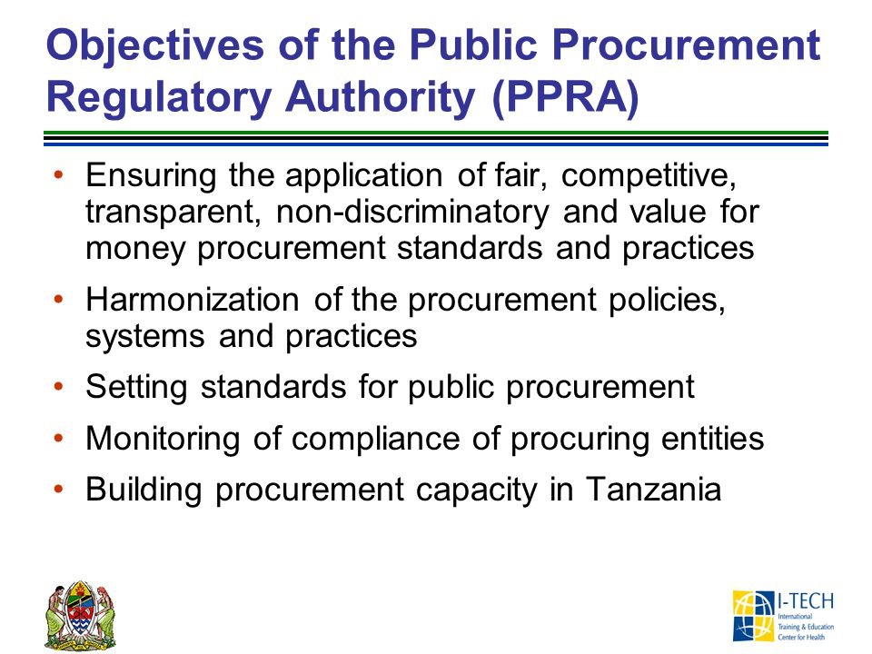 Objectives of the Public Procurement Regulatory Authority (PPRA)