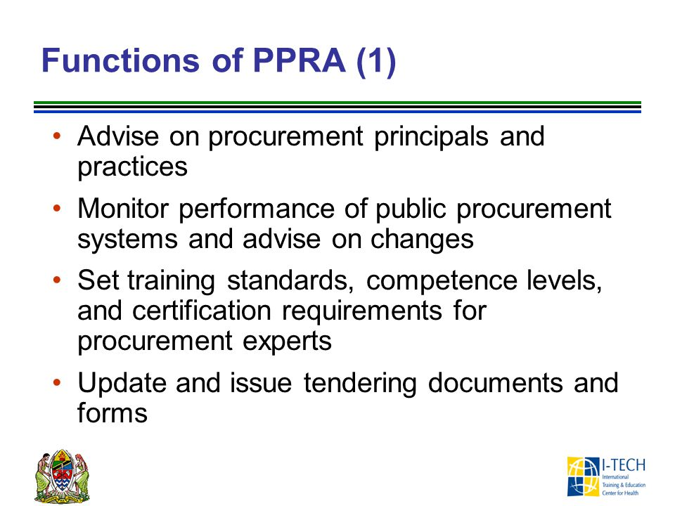 Functions of PPRA (1) Advise on procurement principals and practices