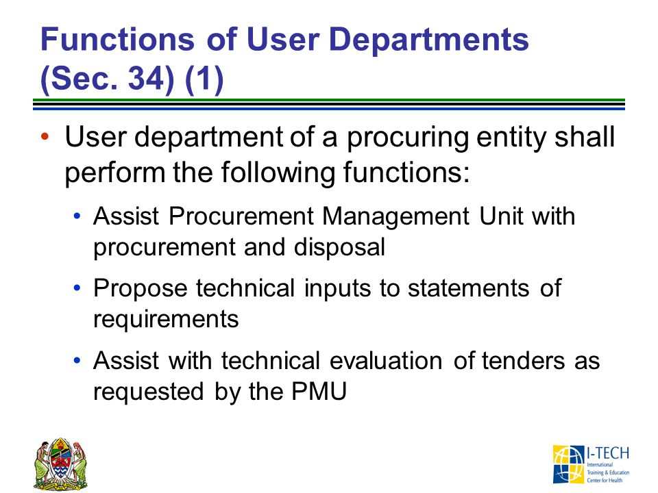 Functions of User Departments (Sec. 34) (1)