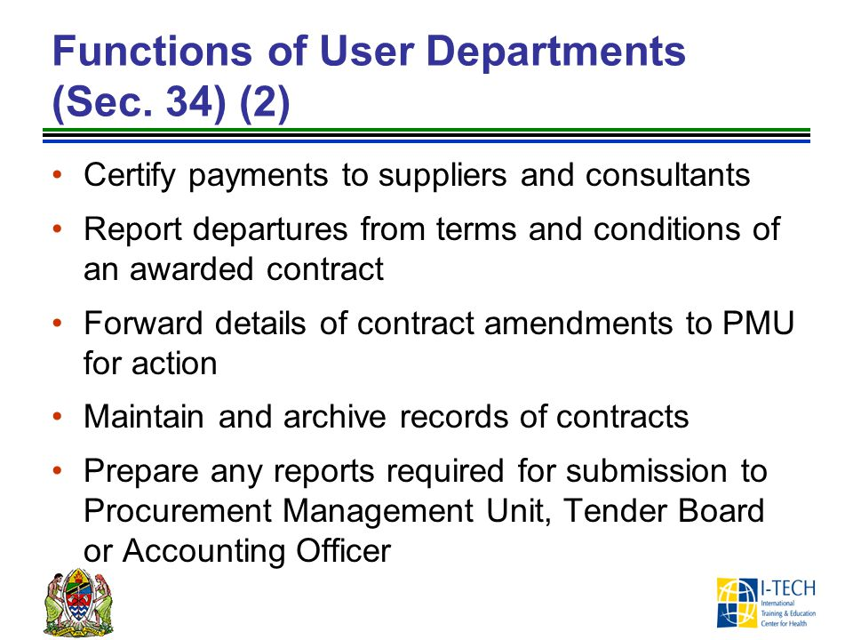 Functions of User Departments (Sec. 34) (2)