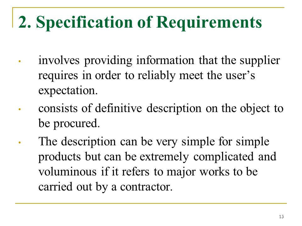 2. Specification of Requirements
