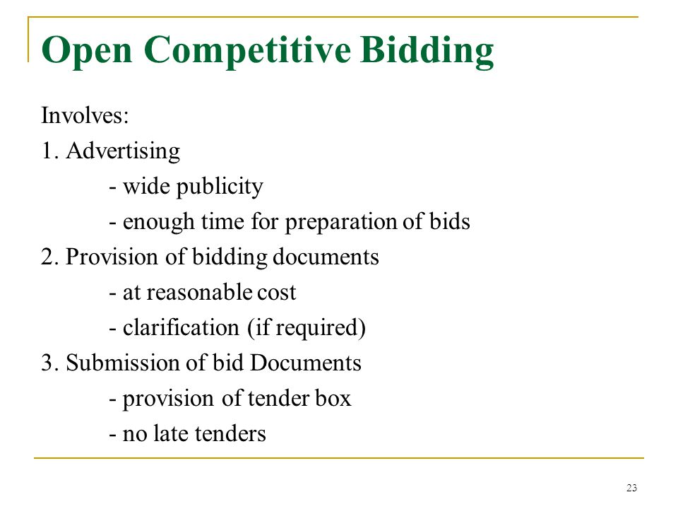 Open Competitive Bidding