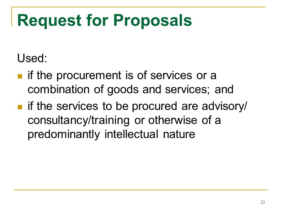 Request for Proposals Used: