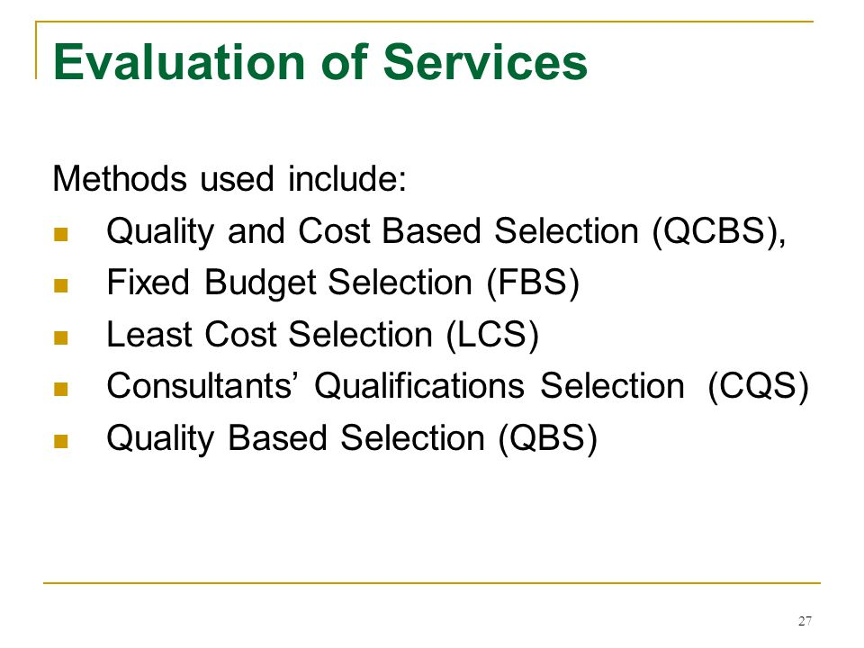 Evaluation of Services