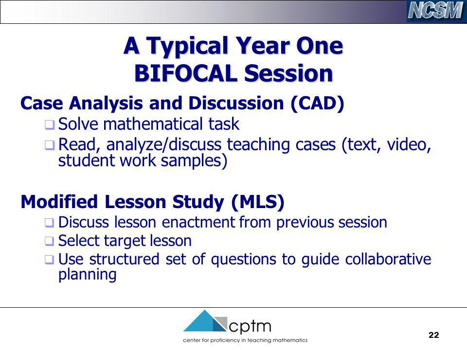 A Typical Year One BIFOCAL Session