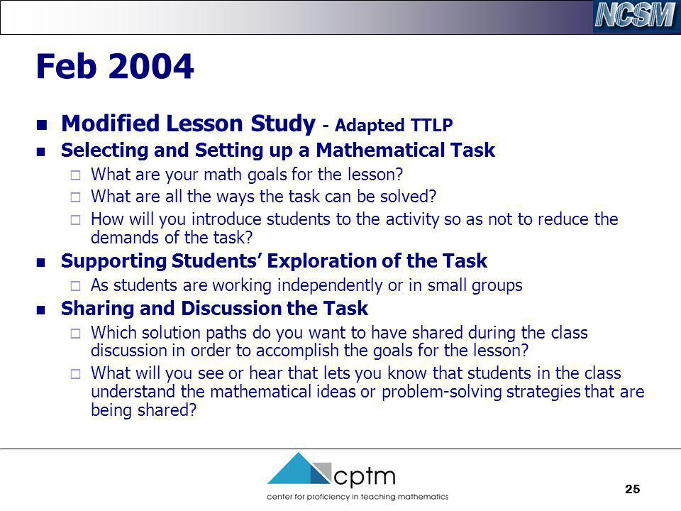 Feb 2004 Modified Lesson Study - Adapted TTLP
