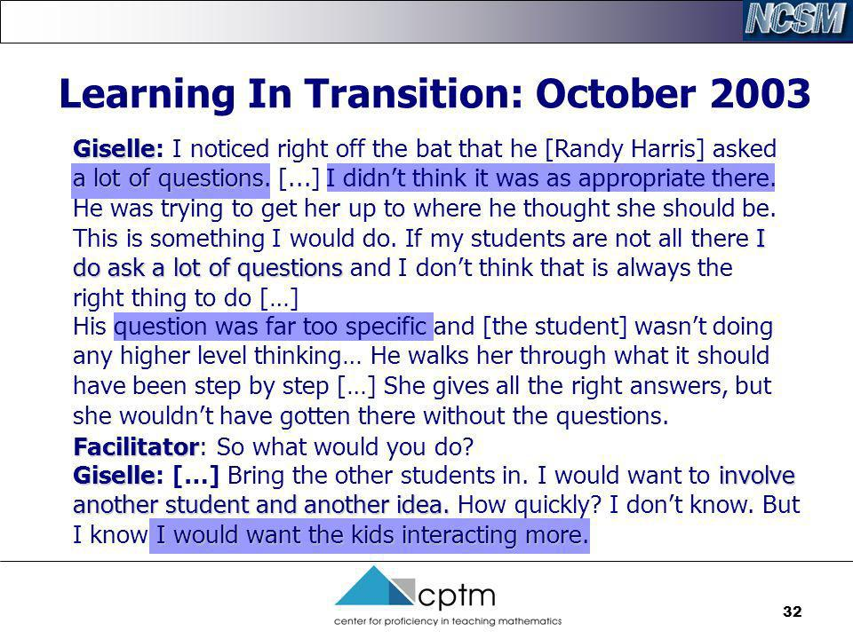 Learning In Transition: October 2003