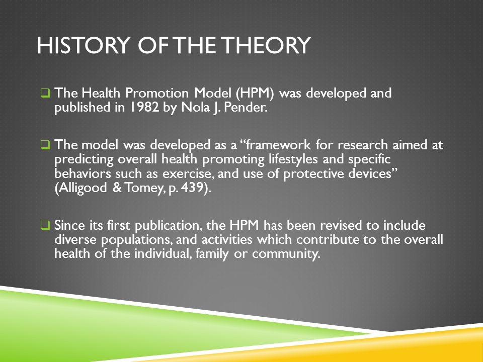 History of the Theory The Health Promotion Model (HPM) was developed and published in 1982 by Nola J. Pender.