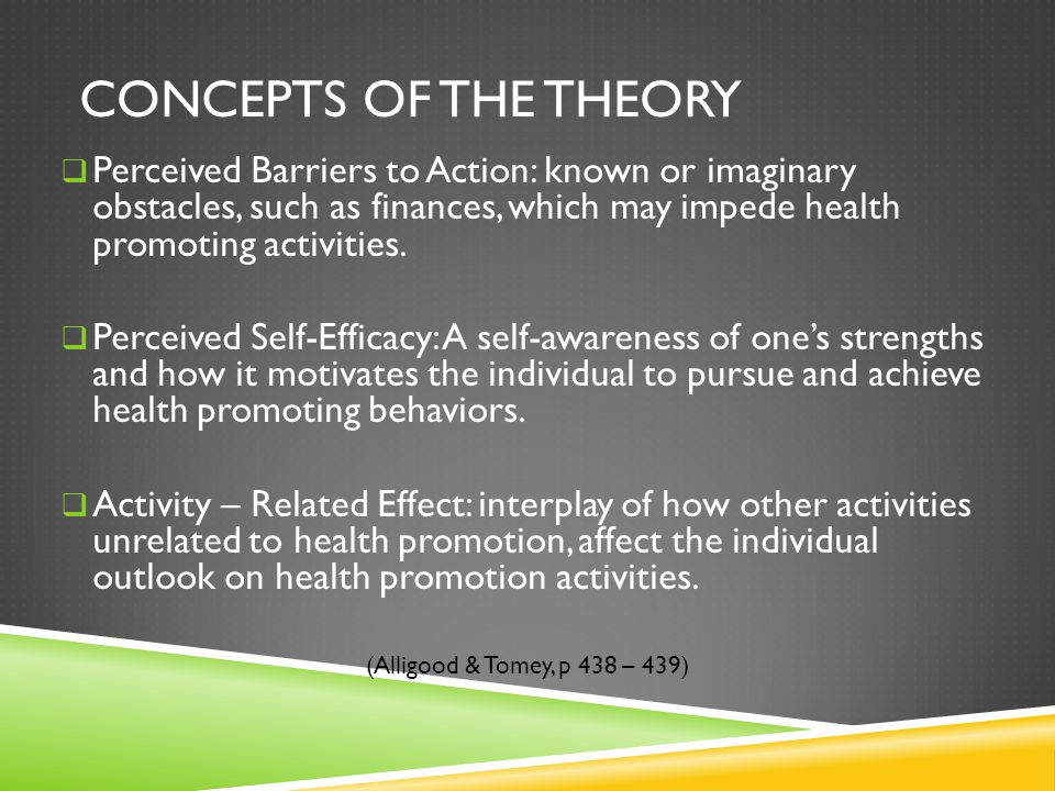 Concepts of the Theory Perceived Barriers to Action: known or imaginary obstacles, such as finances, which may impede health promoting activities.
